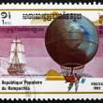 Постер, плакат: Postage stamp Cambodia 1983 Blanchard and Jeffries Hot Air Ball