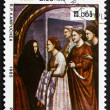 Постер, плакат: Postage stamp Cambodia 1985 Meeting of St Joachim and St Anne