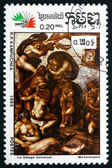 Postage stamp Cambodia 1985 The Flood, by Michelangelo — Stock Photo
