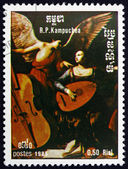Postage stamp Cambodia 1985 St. Cecilia and the Angel, by Sarace — Stock Photo