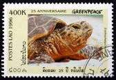 Postage stamp Laos 1996 Hawksbill Sea Turtle — Stock Photo