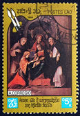 Postage stamp Laos 1984 Madonna and Child, by Correggio — Stock Photo