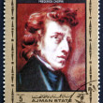 Постер, плакат: Postage stamp Ajman 1972 Frederic Chopin Polish Composer