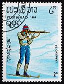 Postage stamp Laos 1984 Biathlon — Stock Photo