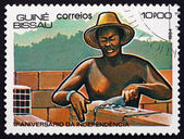 Postage stamp Guinea-Bissau 1984 Mason — Stock Photo