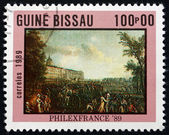 Postage stamp Guinea-Bissau 1989 Armed Mob, Painting — Stock Photo