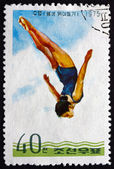 Postage stamp North Korea 1975 Diver, Woman — Stock fotografie