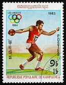 Postage stamp Cambodia 1983 Discus Throw — Stock Photo
