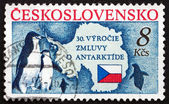 Postage stamp Czechoslovakia 1991 Penguins and Map of Antarctic — Stock Photo