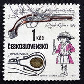 Postage stamp Czechoslovakia 1969 Flintlock Pistol — Stock Photo