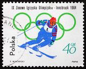 Postage stamp Poland 1964 Skiing — Photo