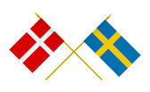 Flags, Denmark and Sweden — Photo