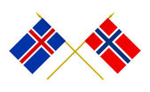 Vlaggen, ijsland en noorwegen — Stockfoto