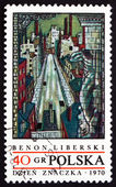 Postage stamp Poland 1970 View of Lodz, by Benon Liberski — Stock Photo