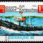 Postage stamp Cambodia 1985 Tugboat, US — Stock Photo