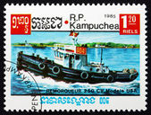 Postage stamp Cambodia 1985 Tugboat, US — Stock Photo