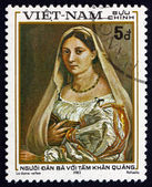 Postage stamp Vietnam 1983 Woman with Veil, by Raphael — Stock Photo