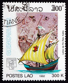 Postage stamp Laos 1992 Map by Piri Reis — Stock Photo
