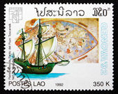 Postage stamp Laos 1992 Map by Paolo del Pozo Toscanelli — Stock Photo