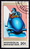 Postage stamp Mongolia 1990 4-man Bobsled — Stock Photo