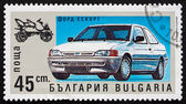 Postage stamp Bulgaria 1992 Ford Escort, Automobile — Stock Photo