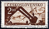 Postage stamp Czechoslovakia 1950 Steam Shovel — Stock Photo