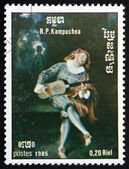 Postage stamp Cambodia 1985 St. Cecilia and the Angel, by Wattea — Stock Photo
