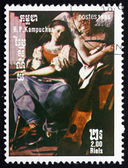 Postage stamp Cambodia 1985 St. Cecilia and the Angel, by Schedo — Stock Photo