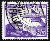 Postage stamp Chile 1956 Train and Plane — Zdjęcie stockowe