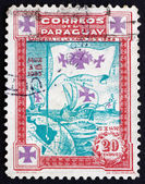 Postage stamp Paraguay 1933 Flag with Three Crosses — Stock Photo