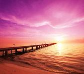 Boardwalk on beach — Stock Photo