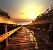 Boardwalk on beach — Stock Photo