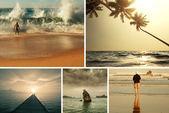 Beach scene collage — Stock Photo