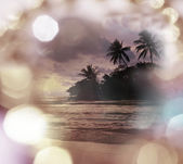Beautiful sunset on tropical beach — Stock Photo