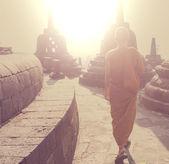 Monk in Borobudur — Stock Photo
