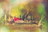 草地のテント — ストック写真