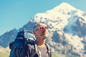 Climber in mountains — Stock Photo
