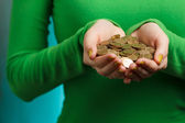 Girl in green turtleneck holding gold coins in hands — Stock Photo