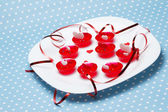 Valentine's day love gelatin deserts — Stock Photo