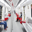 Interior of subway train in metro — Stock Photo