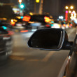 Night drive ,shoot from the window of speed car, motion blur tunnel light. — Stock Photo