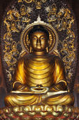 Golden buddha, front view — Stock Photo