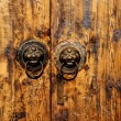 图库照片: Chinese wood door with animal head background.