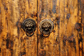 The Chinese wood door with animal head background. — Stock Photo