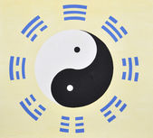 Mystic Chinese Taichi picture on the wall of a Taoist temple. — Stock Photo