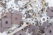 The various metal hardware background. — Stok fotoğraf