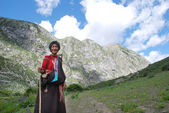 Tibetan in traditional outfit — Stock Photo