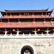 Chinese ancient city wall and wood gate tower — Stock Photo