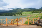 The beautiful Tianshan mountain lake — Foto de Stock