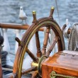 Steering wheel sailboat — Stock Photo